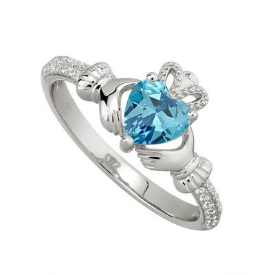 Silver March Claddagh Ring- Aquamarine CZ