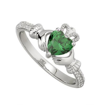 Silver May Claddagh Ring - Emerlad CZ