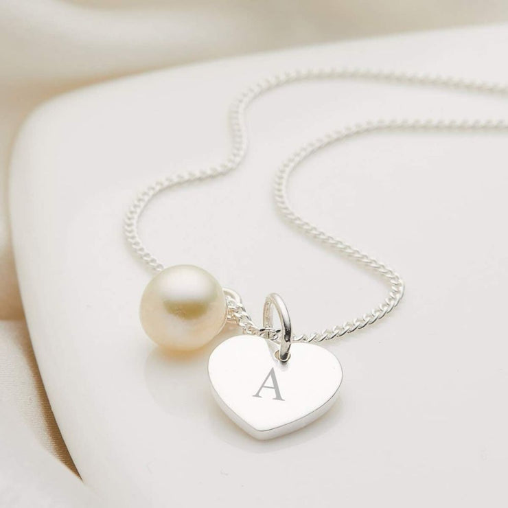 Molly Brown Personalised My First Pearl Heart Necklace MB222-3H