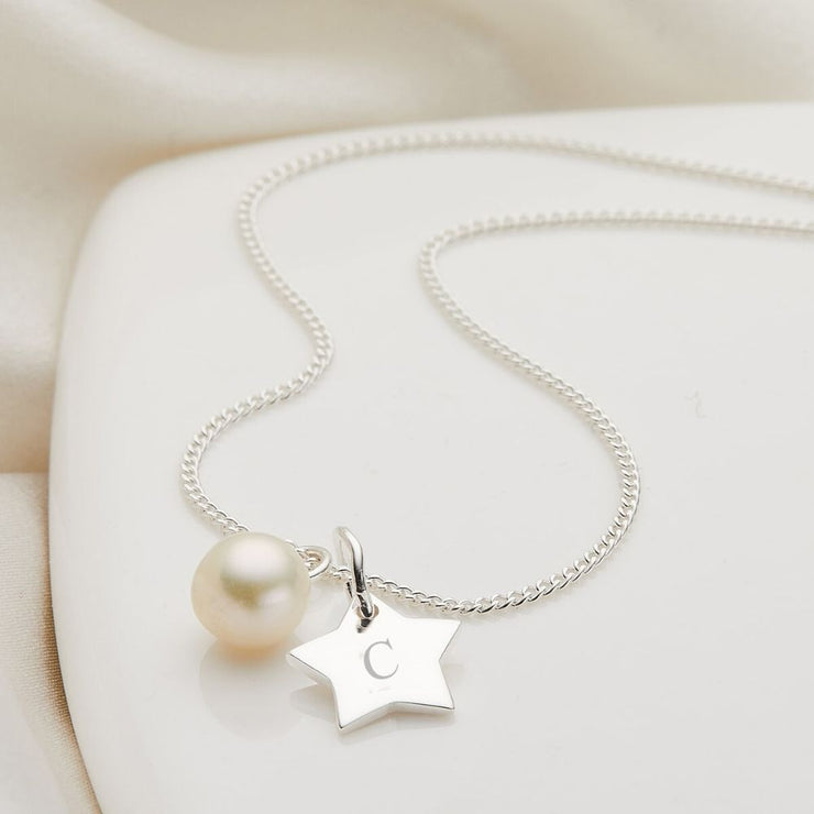 Molly Brown Personalised My First Pearl Star Necklace MB222-3S
