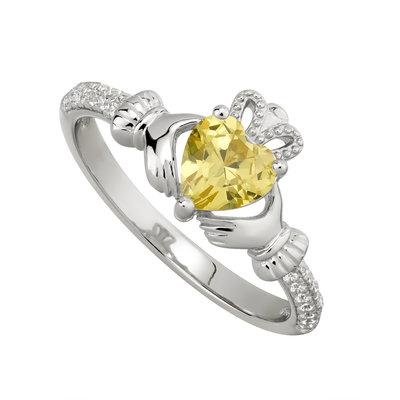 Silver November Claddagh Ring - Topaz CZ