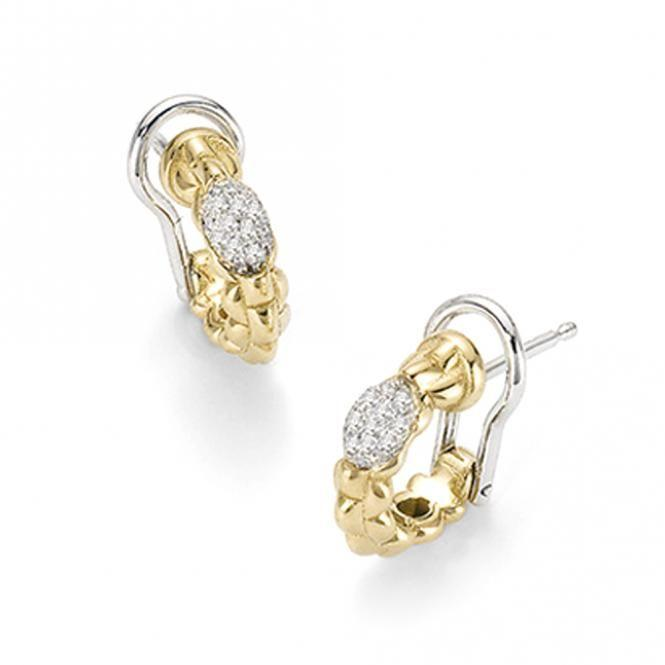 FOPE Flex'it Eka Tiny 18ct Yellow Gold Pave Diamond Earrings OR730 PAVE