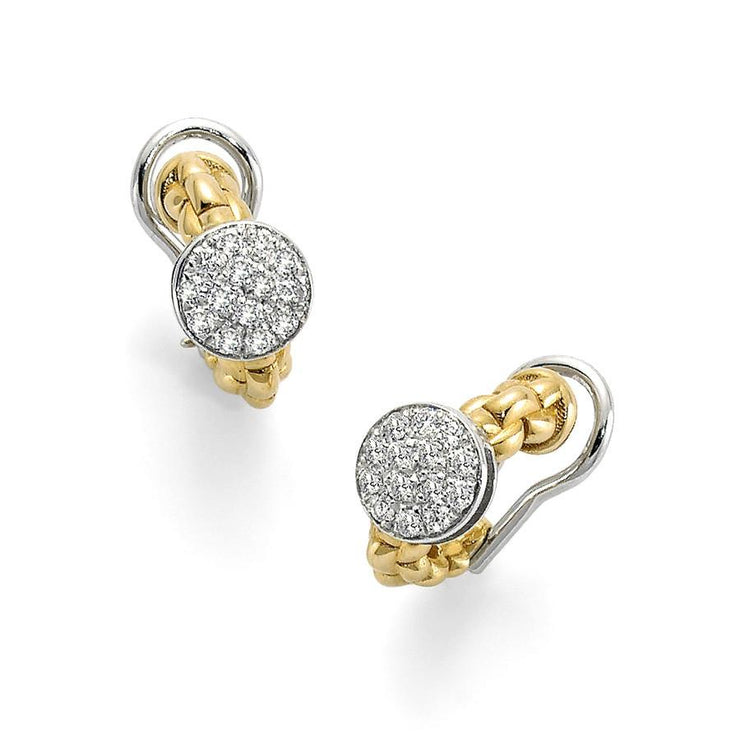 FOPE Flex'it Eka Tiny 18ct Yellow Gold Diamond Earrings OR736 PAVE