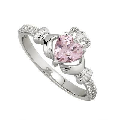Silver October Claddagh Ring - Rose CZ