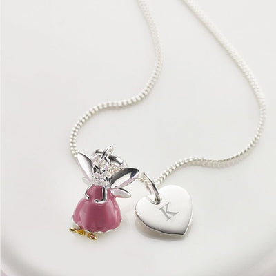 Molly Brown Personalised Pink Fairy Heart Necklace MB49-1NPNH