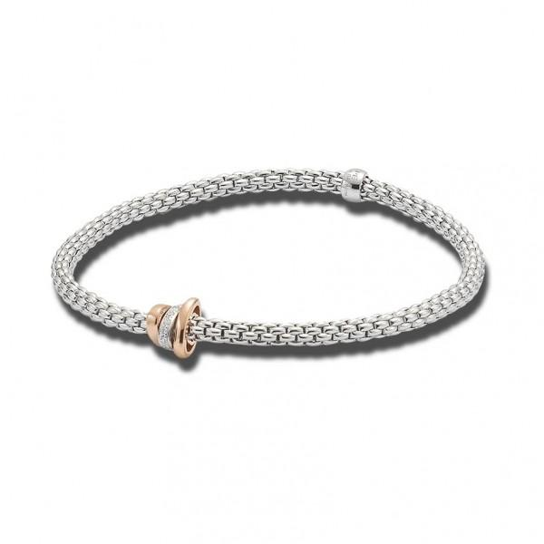 FOPE Flex'it Prima 18ct White Gold Diamond Bracelet 744B BBRM