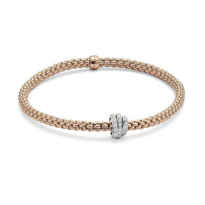FOPE Flex'it Prima 18ct Rose Gold Diamond Bracelet 744B PAVEM
