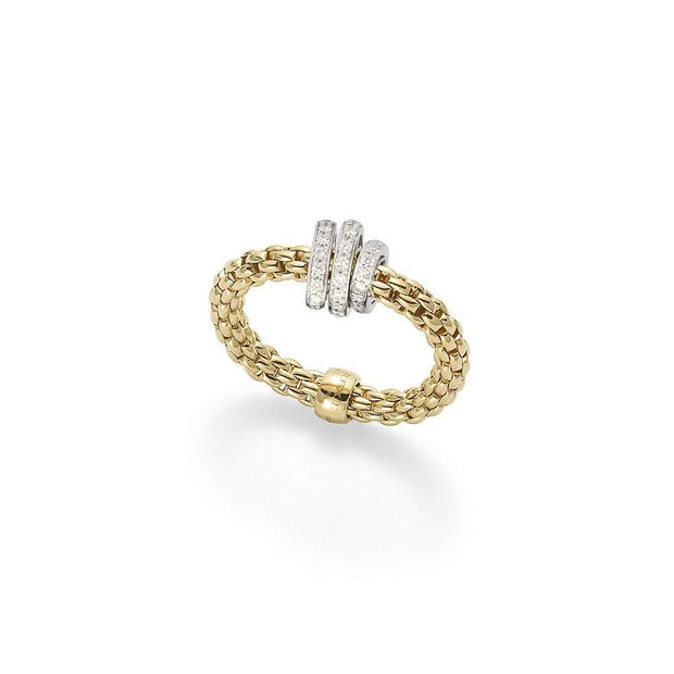 FOPE Flex'it Prima 18ct Gold Diamond Ring AN744 PAVEM