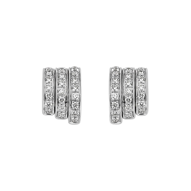 FOPE Flex'it Prima 18ct White Gold Diamond Earrings OR744 PAVE