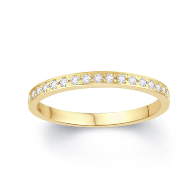 18ct Yellow Gold Pave Set 0.15ct Diamond Wedding Ring