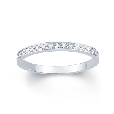 18ct White Gold Pave Set 0.15ct Diamond Wedding Ring