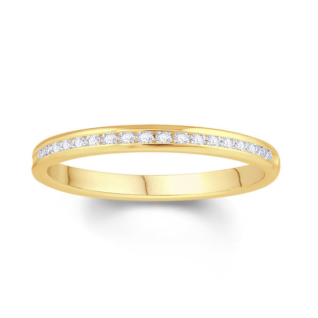 18ct Yellow Gold Channel Set 0.10ct Diamond Wedding Ring