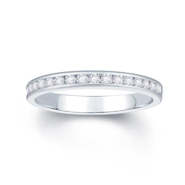 18ct White Gold Channel Set 0.25ct Diamond Wedding Ring
