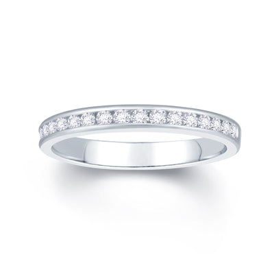 Platinum Channel Set 0.25ct Diamond Wedding Ring
