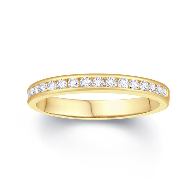 18ct Yellow Gold Channel Set 0.25ct Diamond Wedding Ring