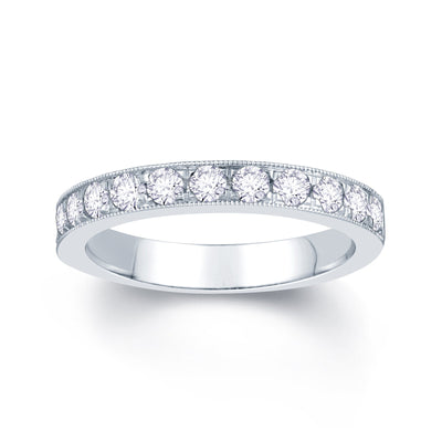 18ct White Gold Pave Set 0.55ct Diamond Wedding Ring
