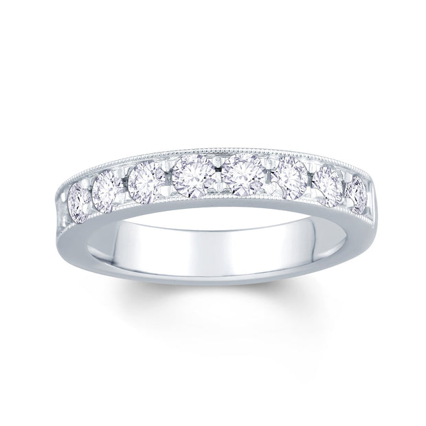 18ct White Gold Pave Set 0.75ct Diamond Wedding Ring