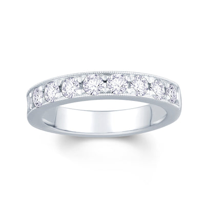 Platinum Pave Set 0.75ct Diamond Wedding Ring