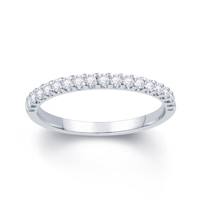 18ct White Gold Scallop Claw 0.20ct Diamond Wedding Ring
