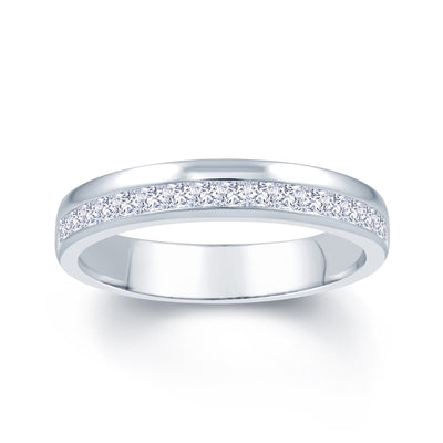 Platinum Princess Cut Offset 0.45ct Diamond Wedding Ring