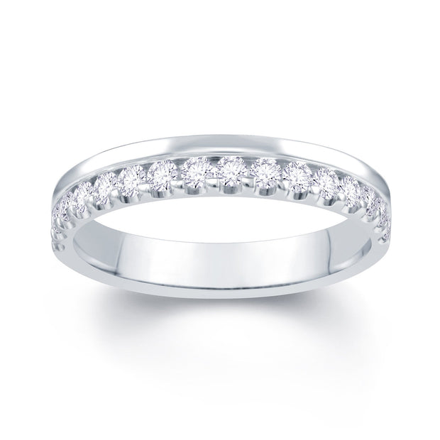 18ct White Gold Off Set 0.30ct Diamond Wedding Ring