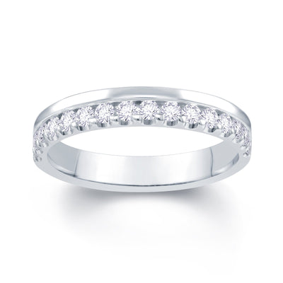 Platinum Off Set 0.30ct Diamond Wedding Ring