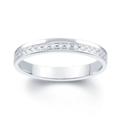18ct White Gold Pave Off Set 0.10ct Diamond Wedding Ring