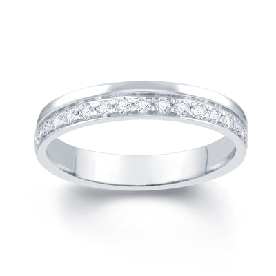 Platinum Pave Off Set 0.25ct Diamond Wedding Ring