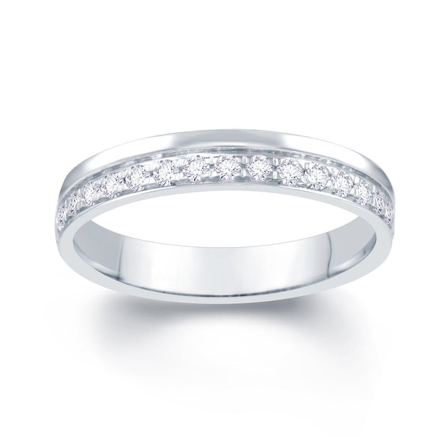 18ct White Gold Pave Off Set 0.25ct Diamond Wedding Ring