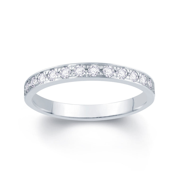 18ct White Gold Pave Set 0.30ct Diamond Wedding Ring