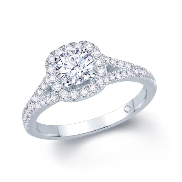 18ct White Gold Cushion Halo Split Shank Engagement Ring