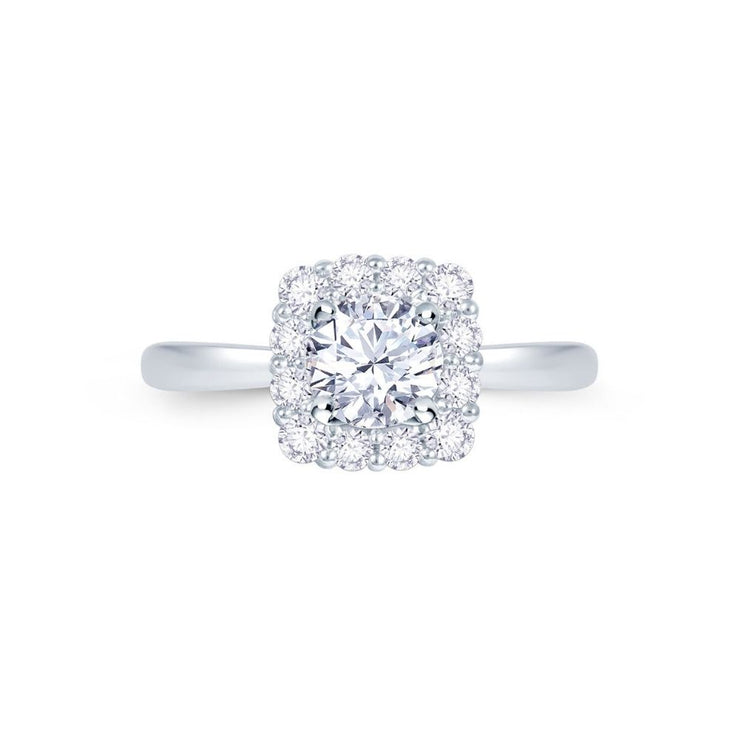 Platinum Cushion Halo Engagement Ring