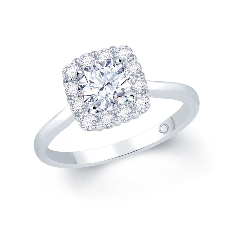 18ct White Gold Cushion Halo Engagement Ring