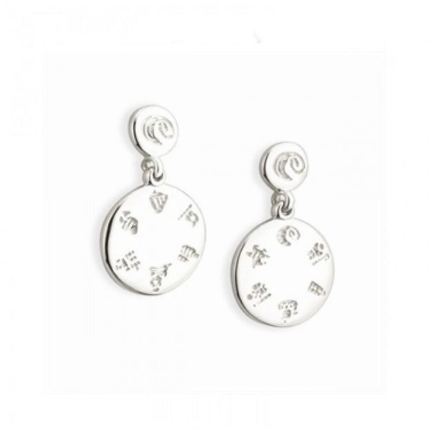 History of Ireland Circle Silver Drop Earrings S3508