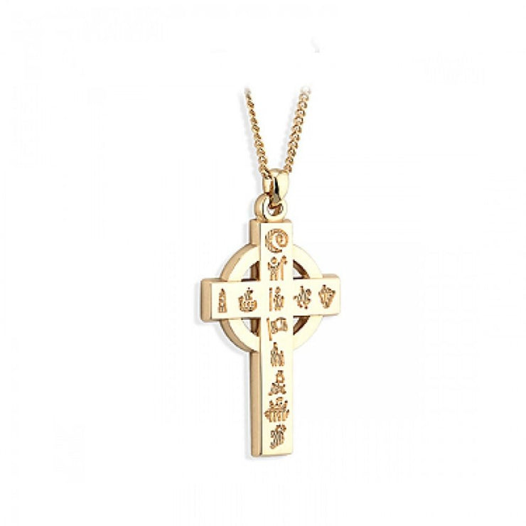 History of Ireland 14ct Gold Cross Necklace S45165