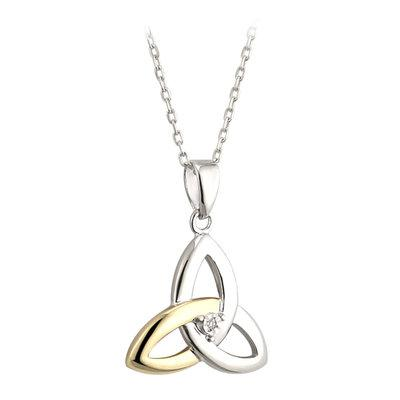 10ct Gold and Silver Diamond Trinity Knot necklace