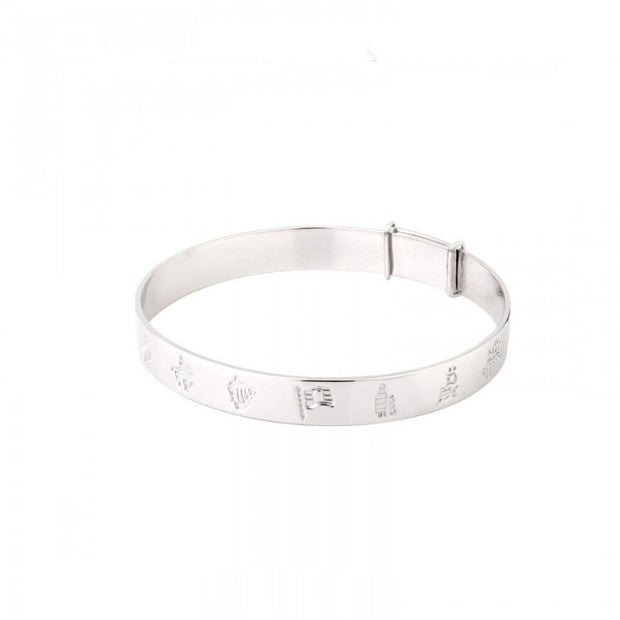 History of Ireland Silver Christening Bangle S5796