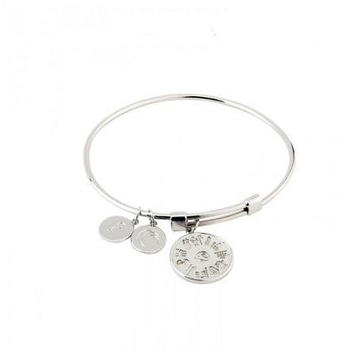 History of Ireland 3 Charm Silver Bangle S5797