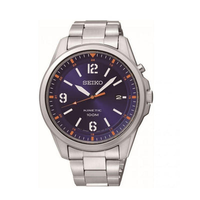 Seiko Kinetic Steel Blue Dial Mens Watch SKA609P1
