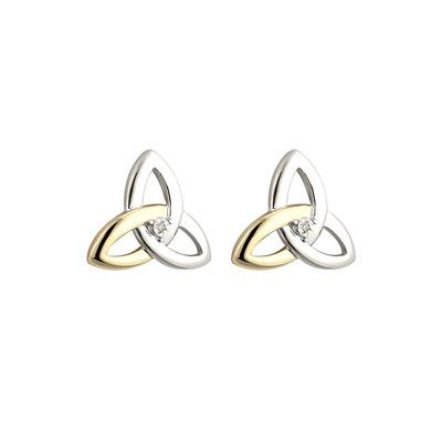 10ct Gold and Silver Diamond Trinity Knot earrings