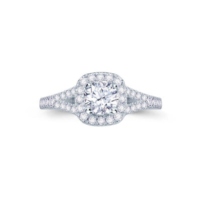 Platinum Cushion Halo Split Shank Engagement Ring