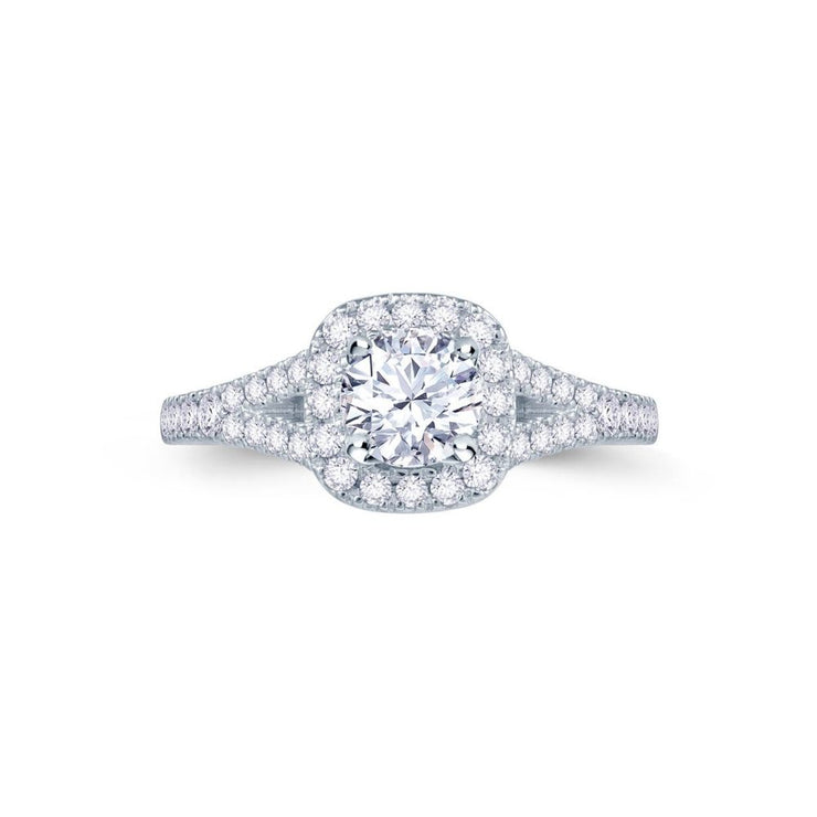 18ct wg Cushion Halo Split Shank Engagement Ring