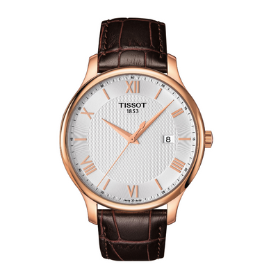 Tissot Tradition Rose Gold Brown Mens Watch T0636103603800