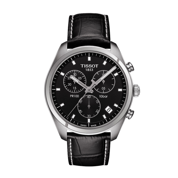 Tissot PR100 Black Chronograph Mens Watch T1014171605100