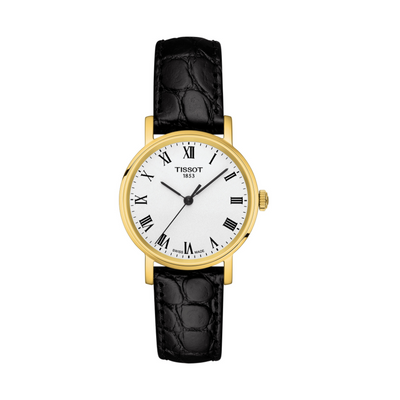 Tissot Everytime Gold and Black Ladies Watch T1092103603300