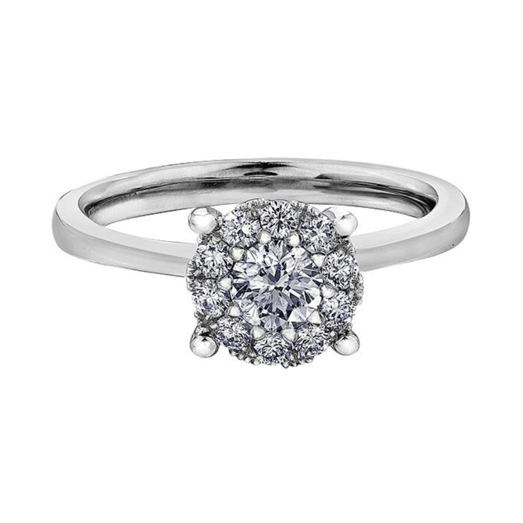 18ct White Gold Halo Diamond 0.52ct Engagement Ring