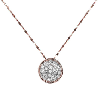 Bronzallure Micro Pave Disc Necklace
