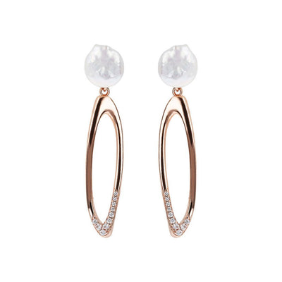Bronzallure Hoop Earrings with Coin Pearls