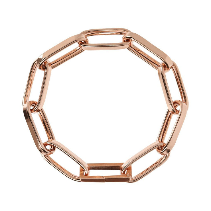 Bronzallure Elongated Link Rose Gold Bracelet