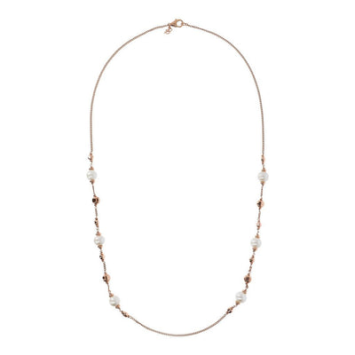 Bronzallure Long Pearl Rose Gold Necklace